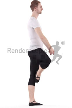3D People model for 3ds Max and Maya – white man in sports outfit, dancing ballet