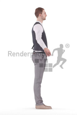 Rigged human 3D model by Renderpeople – european man in smart casual look, event, waiters outfit