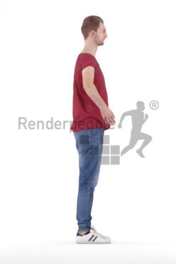 Rigged human 3D model by Renderpeople – european male in casual daily look