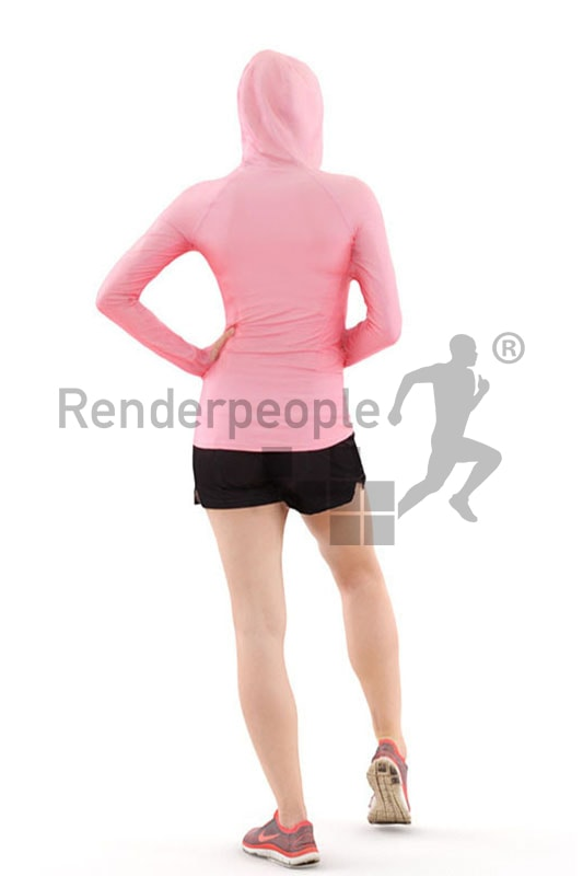 3d people sports, white 3d woman after workout