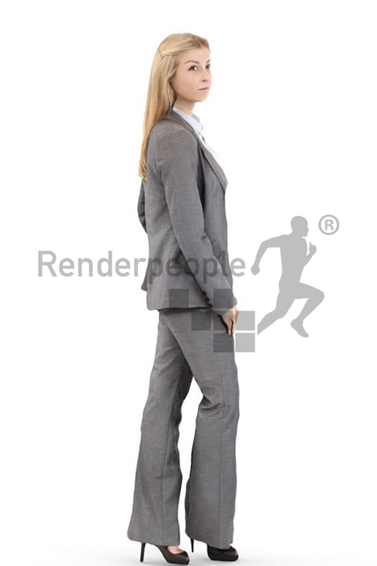 3d people business, white 3d woman standing looking determined