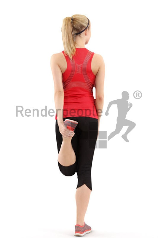 3d people sports, white 3d woman stretching her legs