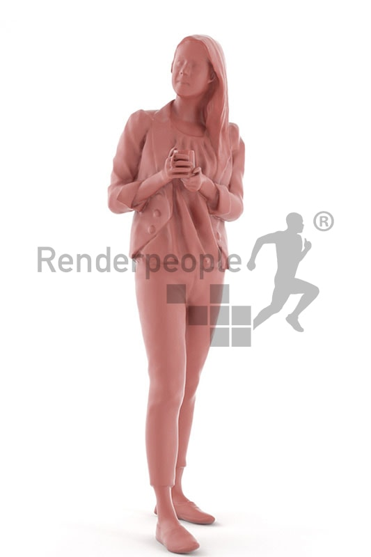 3d people casual, white 3d woman standing and holding a cup