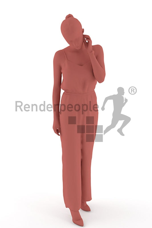 3d people casual, white 3d woman wearing a nice overall