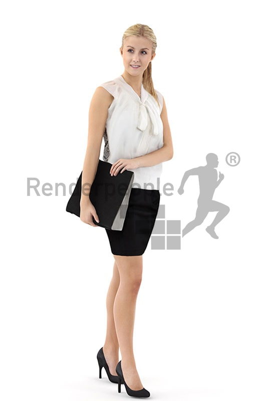 3d people business, white 3d woman carrying a folder