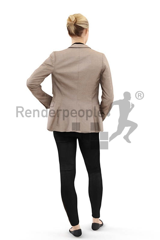 3d people casual, white 3d woman wearing a blazer