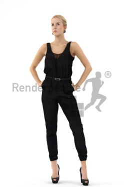 3d people event, white 3d woman wearing a black overall