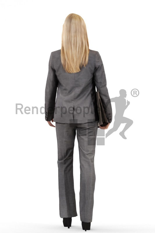 3d people business, white 3d woman carrying a folder and smiling