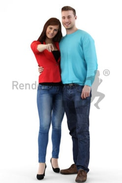 3d people casual, 3d couple arm in arm