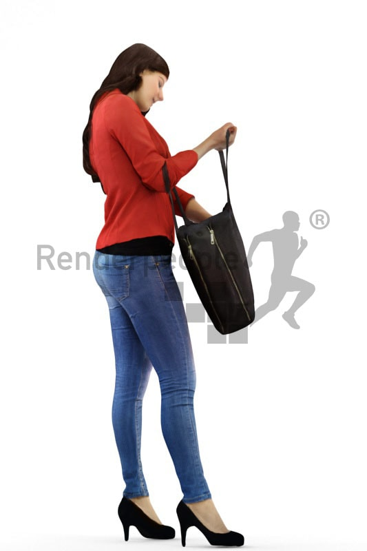 3d people shopping, white 3d woman checking her bag