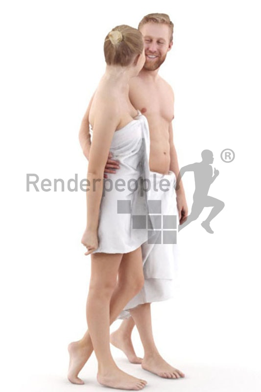 3d people spa, white 3d couple with towls walking