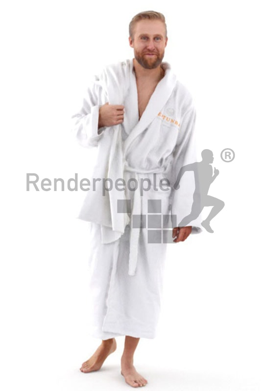 3d people spa, white 3d man wearing a bathrobe