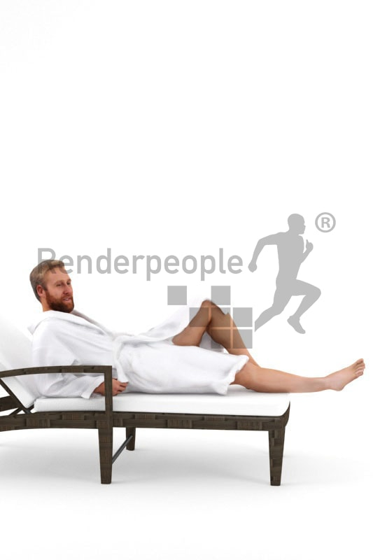 3d people spa, white 3d man wearing a bathrobe and lying on a deck chair