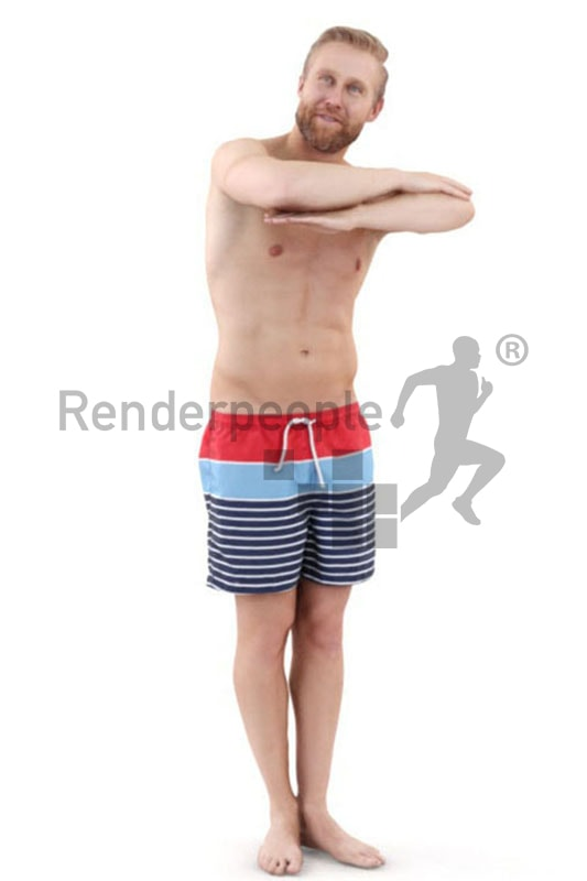 3d people pool, white 3d man leaning on edge of a pool