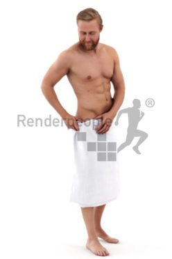 3d people spa, white 3d man with a towl around his hips