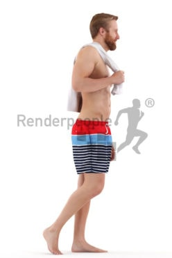3d people beach, attractive white 3d man walking holding a towel