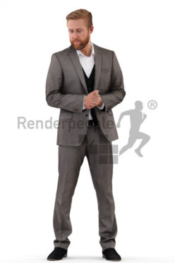 3d people business, white 3d man standing and looking to the ground