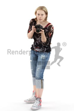 3d people casual, white 3d woman taking a photo