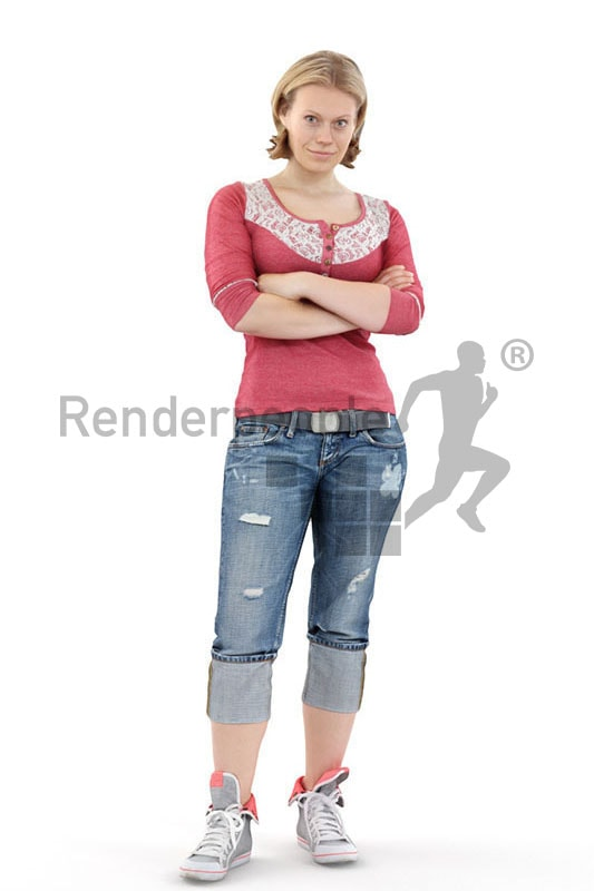 3d people casual, white 3d woman standing with her arms folded