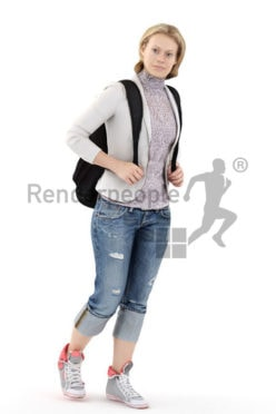3d people casual, white 3d woman carrying a backpack