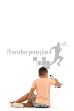 Posed 3D People model for renderings – asian boy, playing with his toy