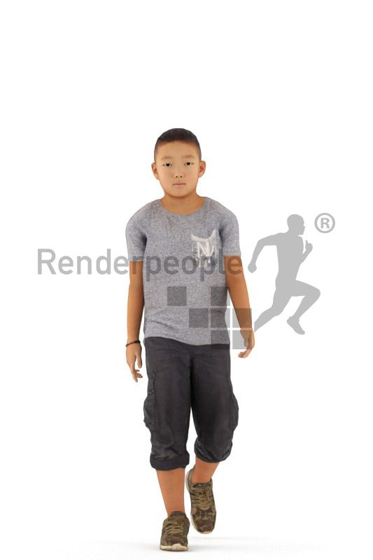 3d people casual, white animated boy walking