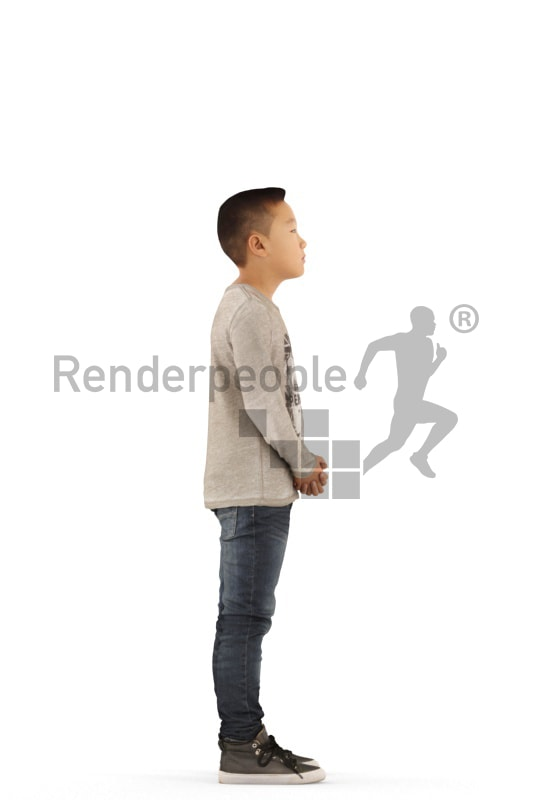 3d people casual, asian 3d kid standing and waiting