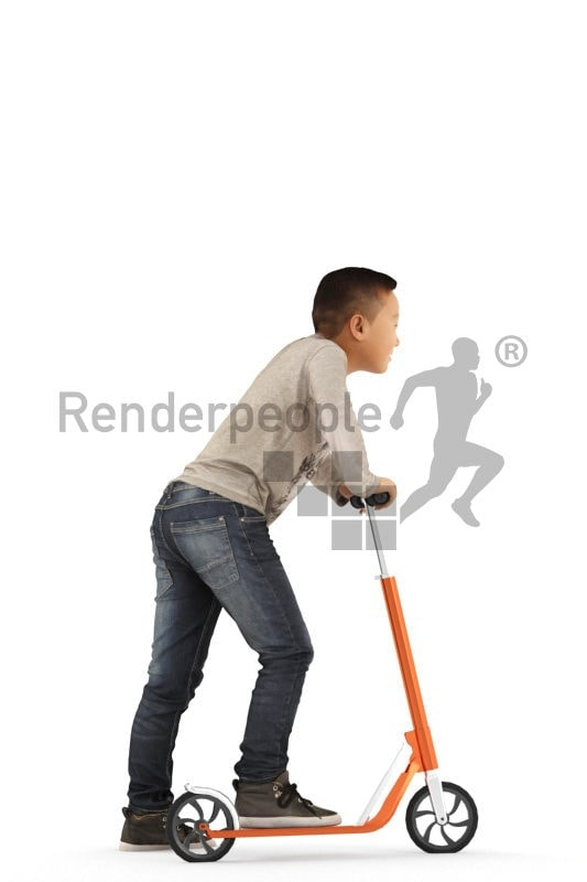 Posed 3D People model for renderings – asian kid in daily outfit, on a scooter