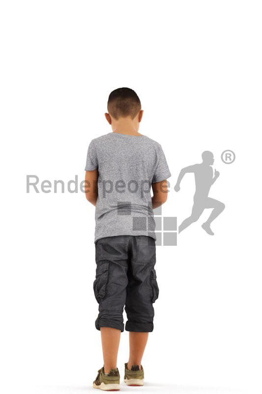 3d people casual, asian 3d kid walking with his phone