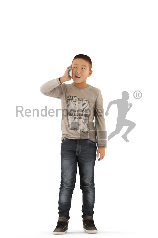 3d people casual, asian 3d kid standing and calling