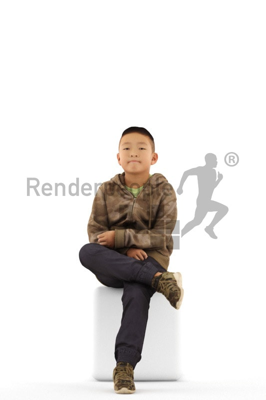 3d people casual, asian 3d kid sitting and waiting
