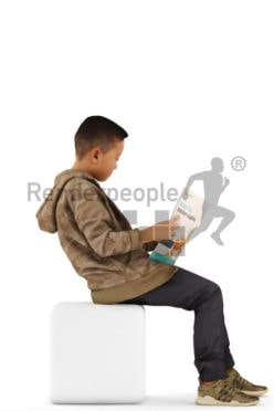 3d people casual, asian 3d kid sitting and reading
