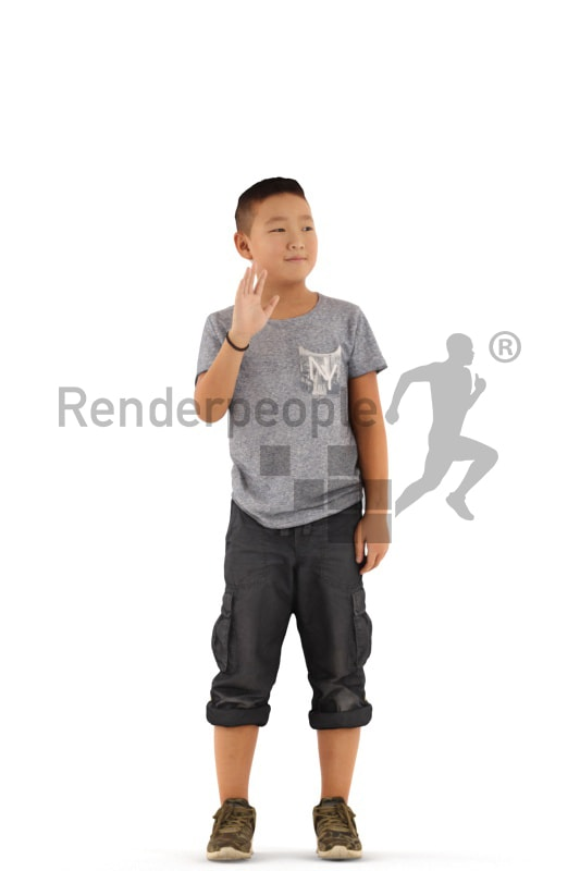 3d people casual, asian 3d kid standing and waving
