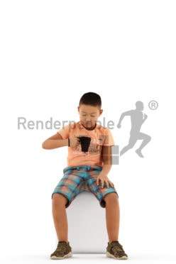 3d people casual, asian 3d kid sitting and drinking