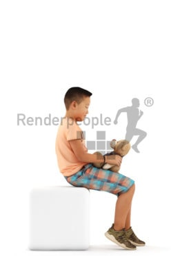3d people casual, asian 3d kid sitting and playing with a teddybear