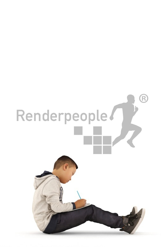 3d people casual, asian 3d kid sitting and drawing