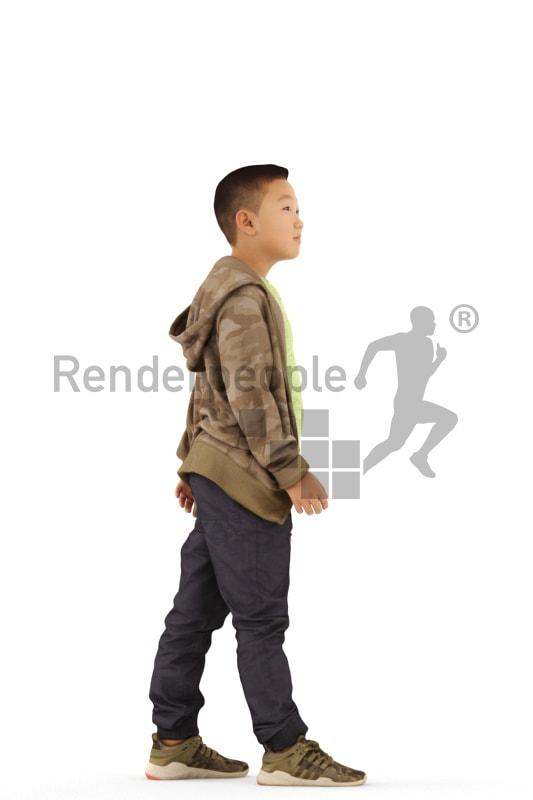 3d people casual, asian 3d kid walking