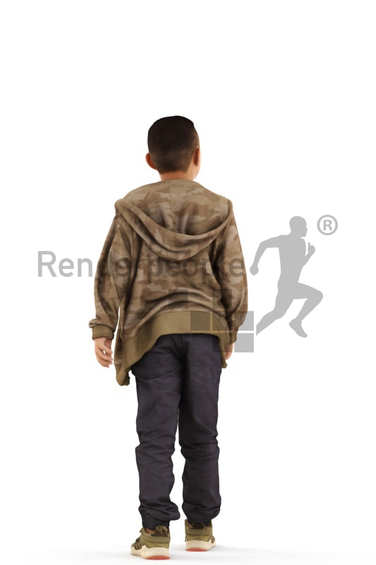 3d people casual, asian 3d kid walking