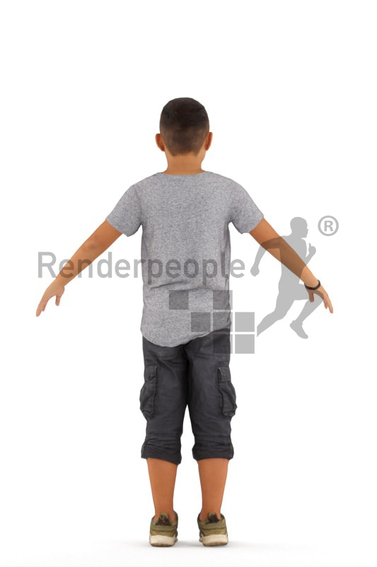 3d people casual, rigged asian kid in A Pose