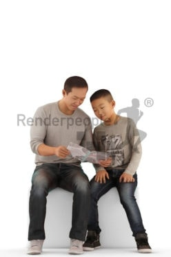 Scanned human 3D model by Renderpeople –asian man and asian boy, sitting next to each other and reading something