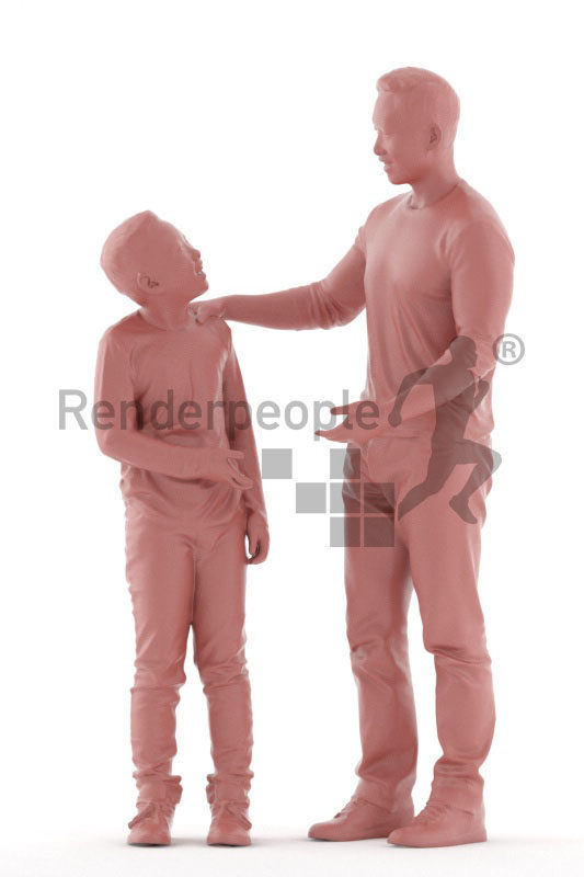 3D People model for 3ds Max and Cinema 4D – asian man and child interacting