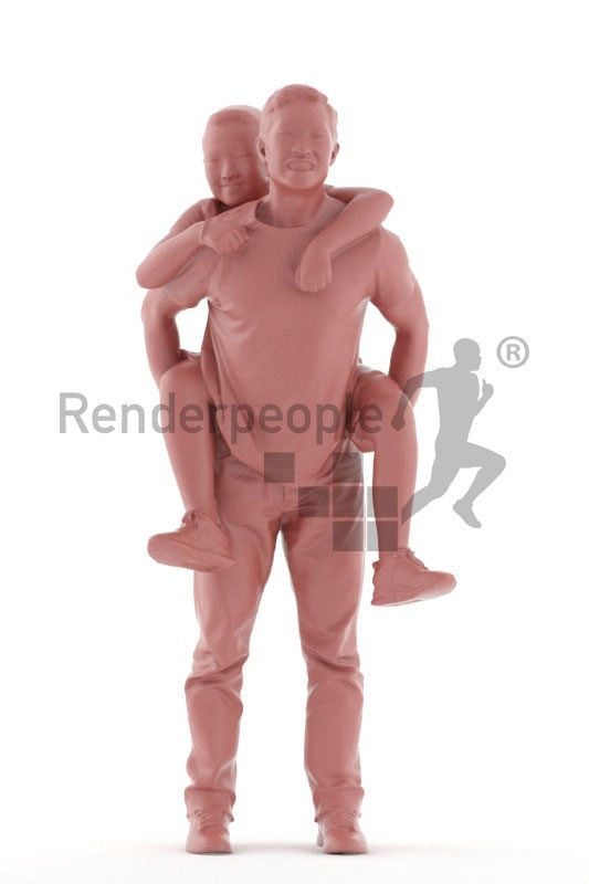 Scanned human 3D model by Renderpeople – asian father and son, piggyback