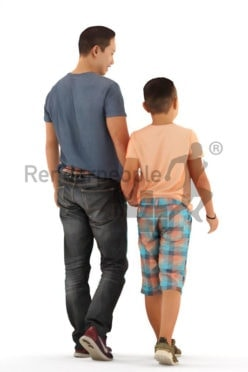 3D People model for 3ds Max and Blender – asian man in daily look, walking with his son
