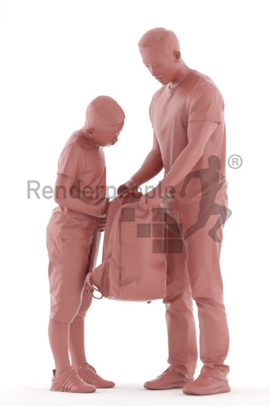 Scanned human 3D model by Renderpeople – asian man with his son, casual look, standing wánd looking into the bag