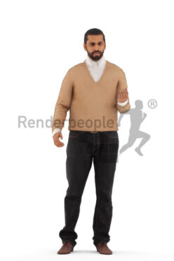 Animated 3D People model for 3ds Max and Maya – indian/middle eastern man in smart casual look, talking