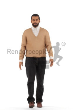 Animated 3D People model for realtime, VR and AR – middle eastern man in smart casual look, walking