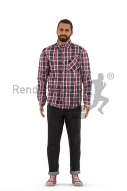 Animated 3D People model for 3ds Max and Maya – middle eastern male, casual looking, standing