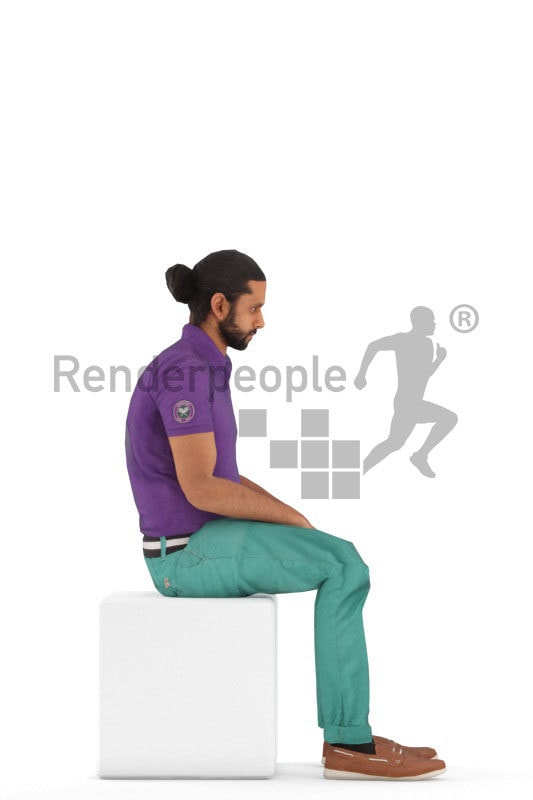 Animated 3D People model for Unreal Engine and Unity – middle eastern man in casual clothes, sitting