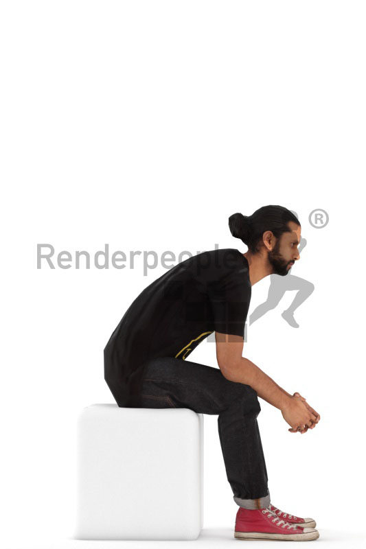 3D People model for animations – middle eastern man in streetwear, sitting