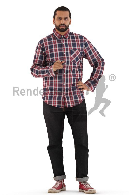 3d people casual, indian 3d man standing and pointing